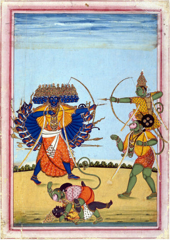 Rama And Hanuman Fighting Ravana c1820 - Thanjavur Style - Vintage Indian Miniature Ramayan Painting