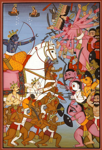 Rama Defeating Ravana In Battle - Vintage Indian Art From The Ramayana