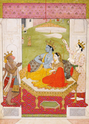 Rama And Sita Enthroned With Lakshmana And Hanuman, Pahari, Guler, circa 1800-15 - Indian Miniature Painting From Ramayan - Vintage Indian Art