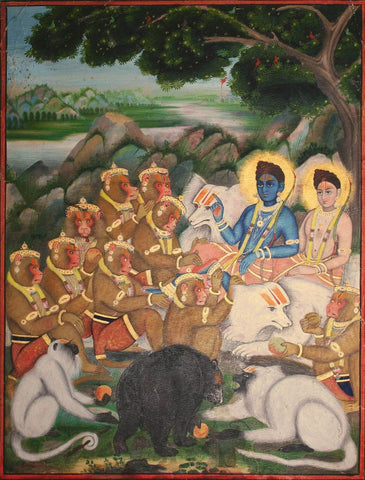 Ramayana Exiled In The Forest, Rama And Lakshmana Instruct Their Army Of Animals. Jaipur, circa 1880 - Indian Miniature Painting From Ramayan - Vintage Indian Art