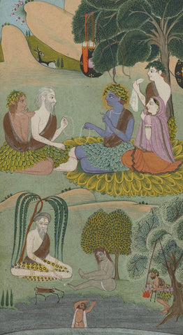 Ramayana Manuscript, Jammu, Punjab Hills, India, circa 1820  - Indian Miniature Painting From Ramayan - Vintage Indian Art
