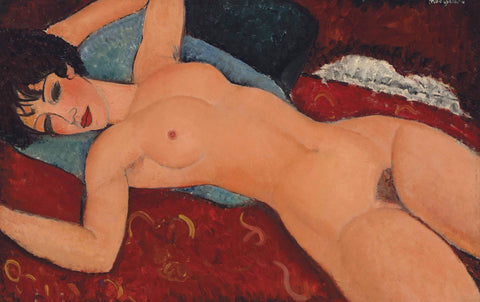 Reclining Nude With Blue Cushion - Framed Prints