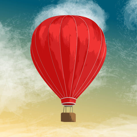 Red Hot Air Baloon Painting - Art Prints