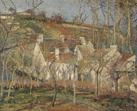 Red roofs, corner of a village, winter - Posters