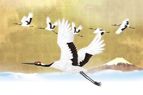 Red Crowned Cranes - Japanese Painting - Bird Wildlife Art Print Poster