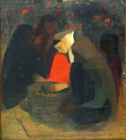 Resting Fruit Sellers - Amrita Sher-Gil - Indian Art Painting by Amrita Sher-Gil