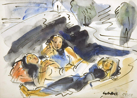 Resting - Ramkiran Baij - Bengal School Indian Painting