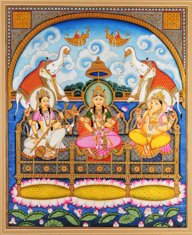 Saraswati Lakshmi And Ganesha Painting