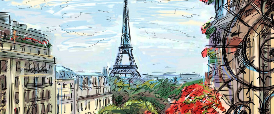 A beautiful view of Eiffel Tower - Digital Painting by Sina Irani | Buy Posters, Frames, Canvas  & Digital Art Prints