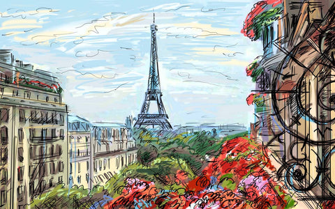 A beautiful view of Eiffel Tower - Digital Painting by Sina Irani