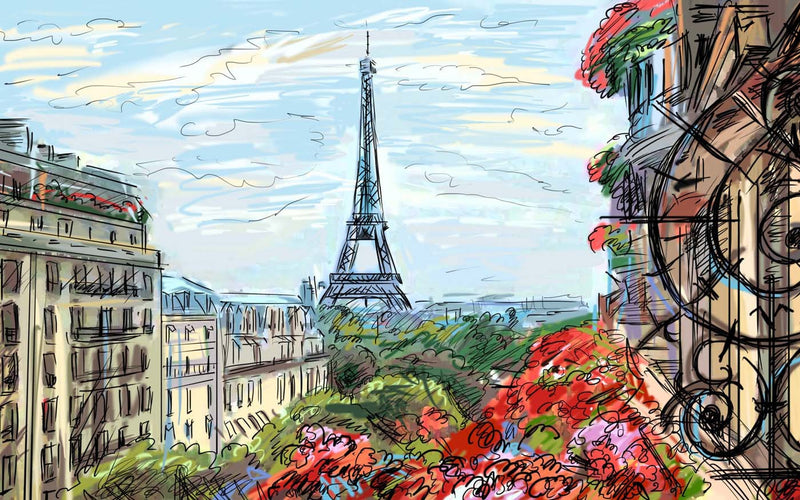 Artwork of A beautiful view of Eiffel Tower - Digital Painting by Sina Irani