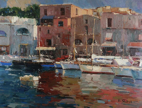 Harbour Scenery At Monaco - Oil Painting by Christopher Noel