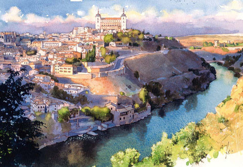 Spanish City Toledo In Watercolors by Christopher Noel