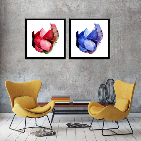 Bloom - Contemporary  Painting - Set Of 2 Framed Canvas (30 x 30 inches) each