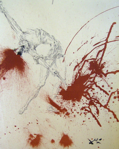 Battle with the Wine Skins - Lithograph From The Catalog of the Graphic Works By Salvador Dali
