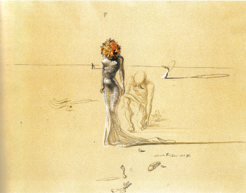 Woman With A Flower Head,1937 By Salvador Dali