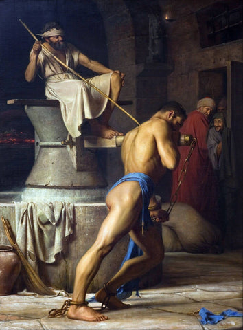 Samson And The Philistines - Carl Bloch - Christian Art Painting