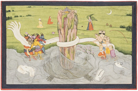 Samudra Manthan - A Gita Govinda - C 1785 - Indian Miniature Painting by Tallenge Store