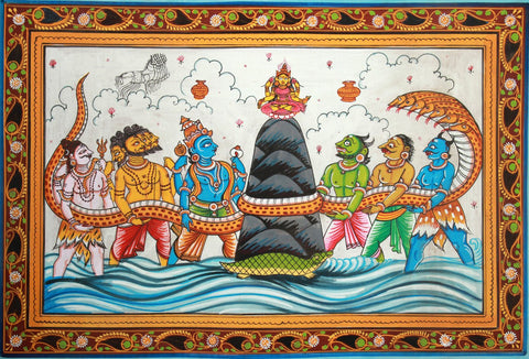 Samudra Manthan (Churning Of The Ocean) - C. AD. 1110-1435 - Indian Miniature Painting by Tallenge Store