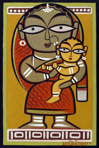 Santhal Mother and Child - Canvas Prints