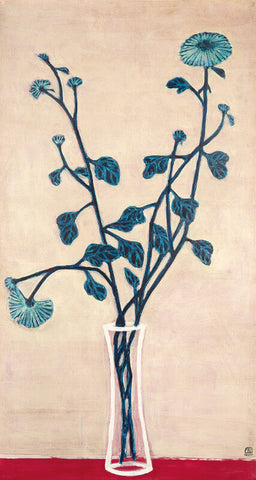 Blue Chrysanthemums In A Glass Vase