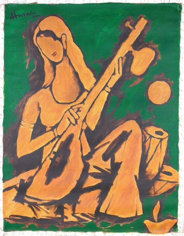 Saraswati on Veena - Large Art Prints