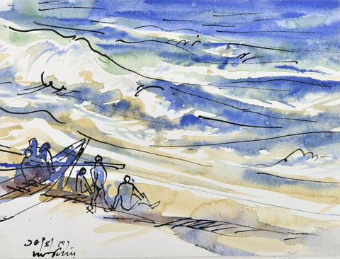 Seascape - Ramkinkar Baij - Bengal School Indian Painting