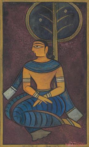 Seated Bengali Woman - Jamini Roy - Canvas Prints
