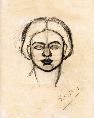 Self-Portrait - Amrita Sher-Gil - Sketch by Amrita Sher-Gil
