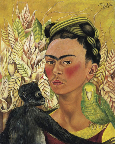 Self Portrait With Monkey And Parrot by Frida Kahlo