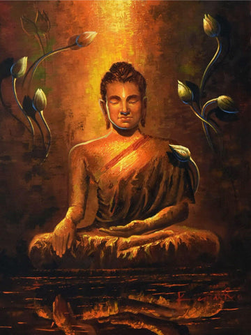Serene Buddha Reflecting Painting
