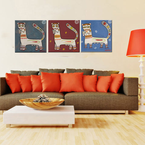 Set Of 3 Jamini Roy Paintings - Tiger And Cub - Gallery Wrapped Art Print (12 x 12 inches ) by Jamini Roy
