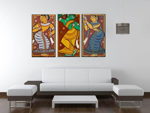 Set Of 3 Jamini Roy Paintings - Gopini - Gallery Wrapped Art Print (10 x 18 inches each) by Jamini Roy