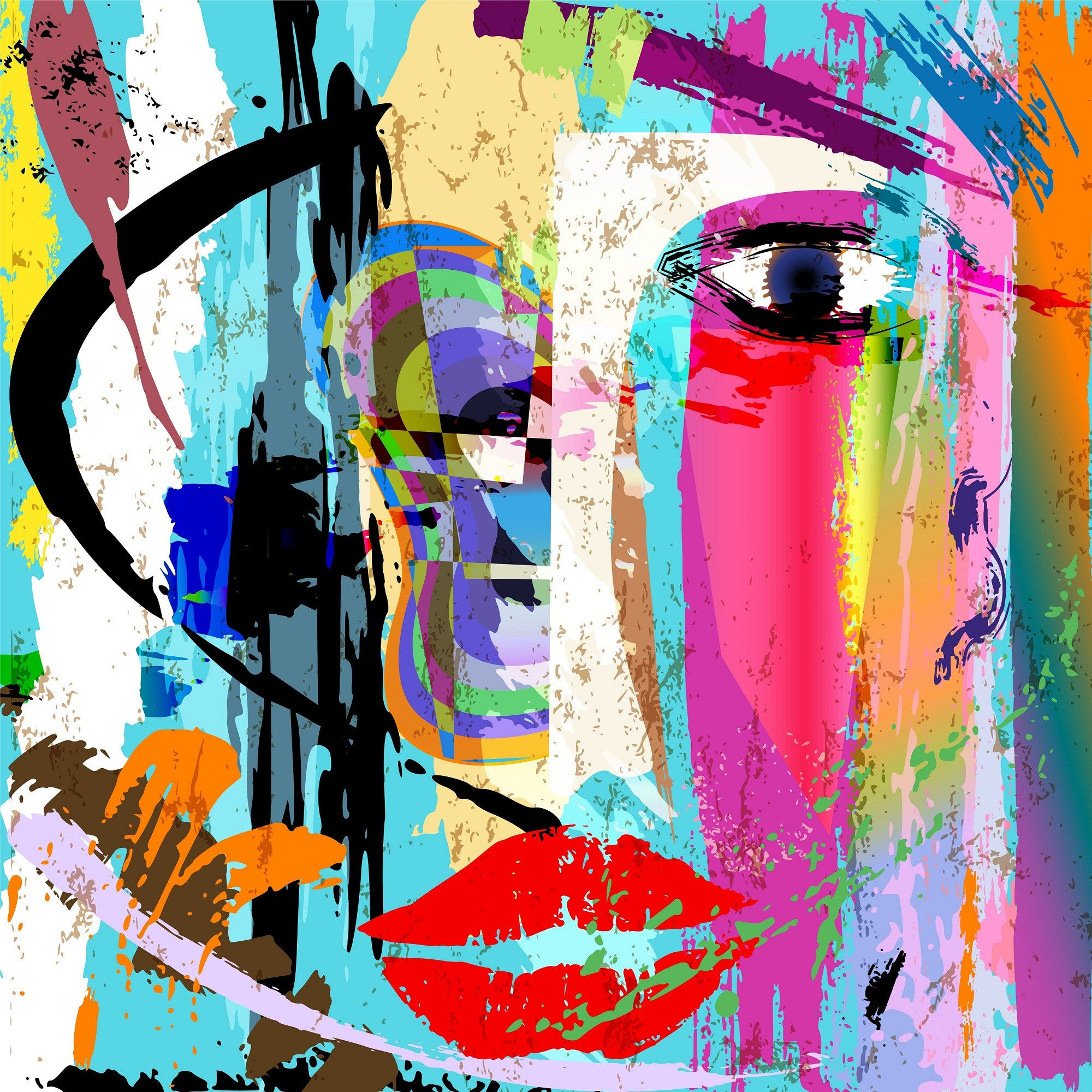 eyes and lips abstract digital art posters by sina irani buy