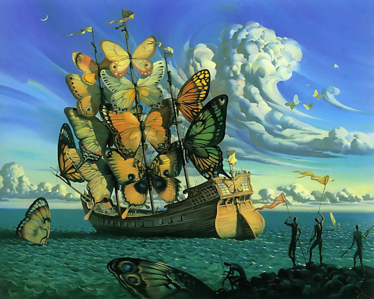 Ship with butterfly sails posters