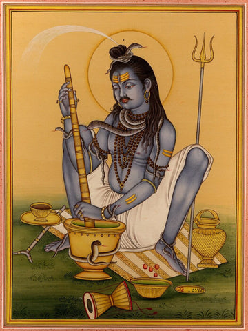 Indian Miniature Art - Shiva Making Bhaang by Kritanta Vala