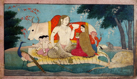 Shiva Parvati Skanda Murugan and Ganesha - Sajnu Mandi School c1825 - Vintage Indian Painting by Tallenge Store