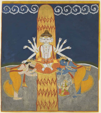Shiva Purana - Shiva Manifesting within a Linga of Flames Worshipped by Brahma and Vishnu - Bulaki - Vintage Indian Miniature Marwar Painting