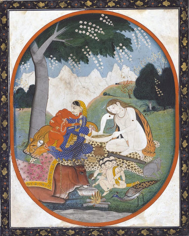 Shiva and Parvati with Their Children Ganesha and Karttikeya (Skanda) - Vintage Indian Painting by Tallenge Store