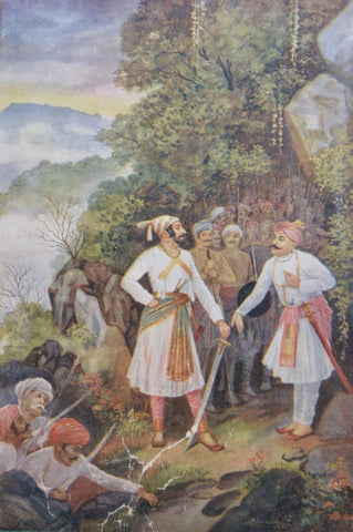 Shivaji Maharaj and Baji Prabhu at Pawan_Khind - M V Dhurandhar - Indian Masters Painting by M V Dhurandhar