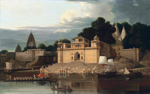 Shivala Ghat Benares - William Daniell - Vintage Orientalist Aquatint of India by William Daniell