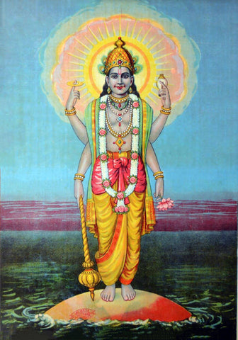 Shree Vishnu - Raja Ravi Varma Press Oleograph Print -  Vintage Indian Art by Raja Ravi Varma
