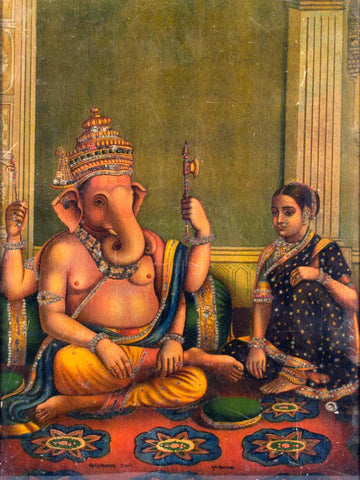 Siddhi Vinayak - The Bestower of Wishes - Lord Ganesha Vintage Indian Oleograph - Raja Ravi Varma Press by Raja Ravi Varma