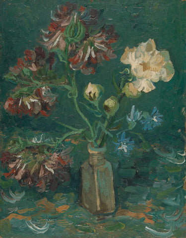 Small Bottle with Peonies and Blue Delphiniums by Vincent Van Gogh