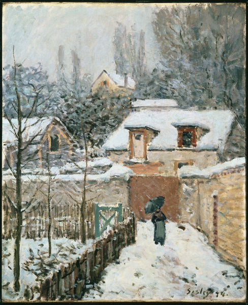 Snow at Louveciennes - Canvas Prints