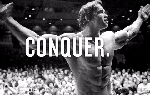 Spirit Of Sports - Motivational Quote - Conquer - Arnold Schwarzenegger