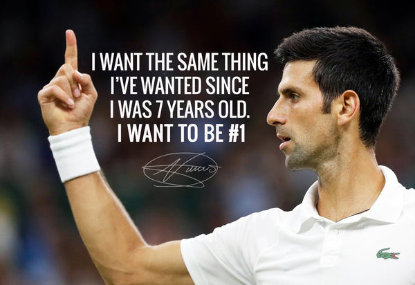 Spirit Of Sports - Motivational Quote - I want to be No 1 - Novak Djokovic - Legend Of Tennis - Framed Prints