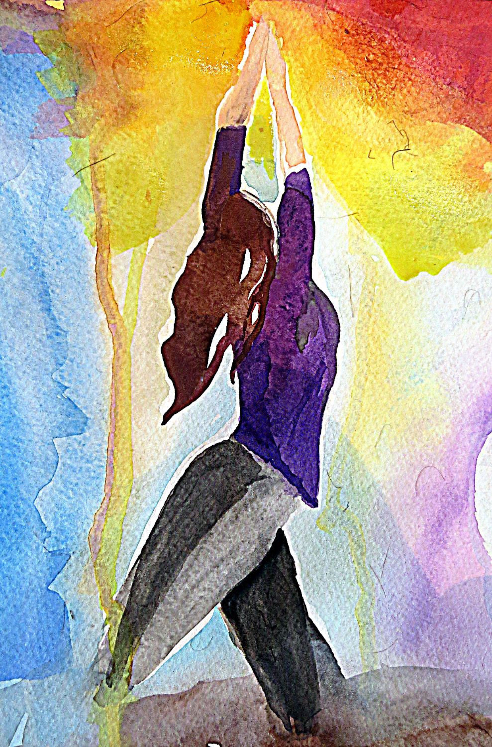 spirit of sports watercolor painting yoga framed prints by