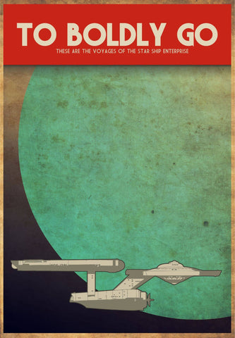 Star Trek - To Boldy Go - Retro Fan Art Minimalist Poster - Tallenge Hollywood Collection by Sam