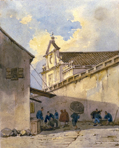Street scene with São Domingos (Saint Dominic) Macao -  George Chinnery - Vintage Orientalist Painting by George Chinnery